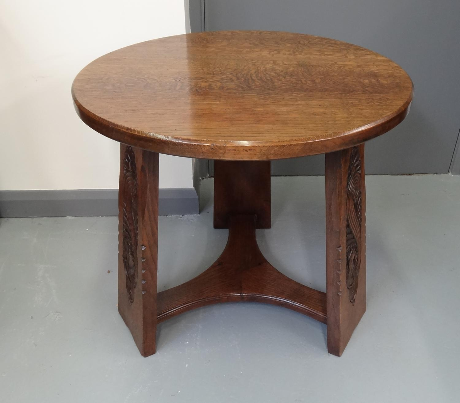 """Liberty & Co Arts & Crafts oak """"peacock"""" occasional table in"""