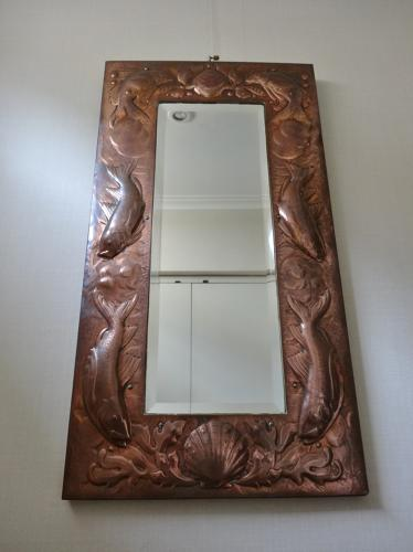Newlyn Arts & Crafts copper fish mirror