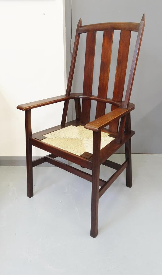 Rare Barry Parker Voysey Arts & Crafts oak armchair