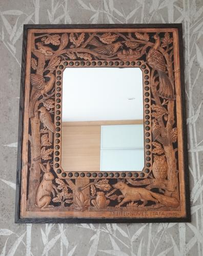 Unusual Cotswold School style Arts & Crafts copper mirror