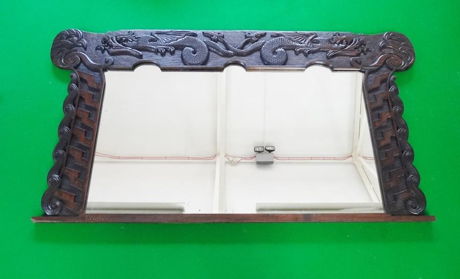 Large Arts and Crafts Celtic Aesthetic overmantle mirror