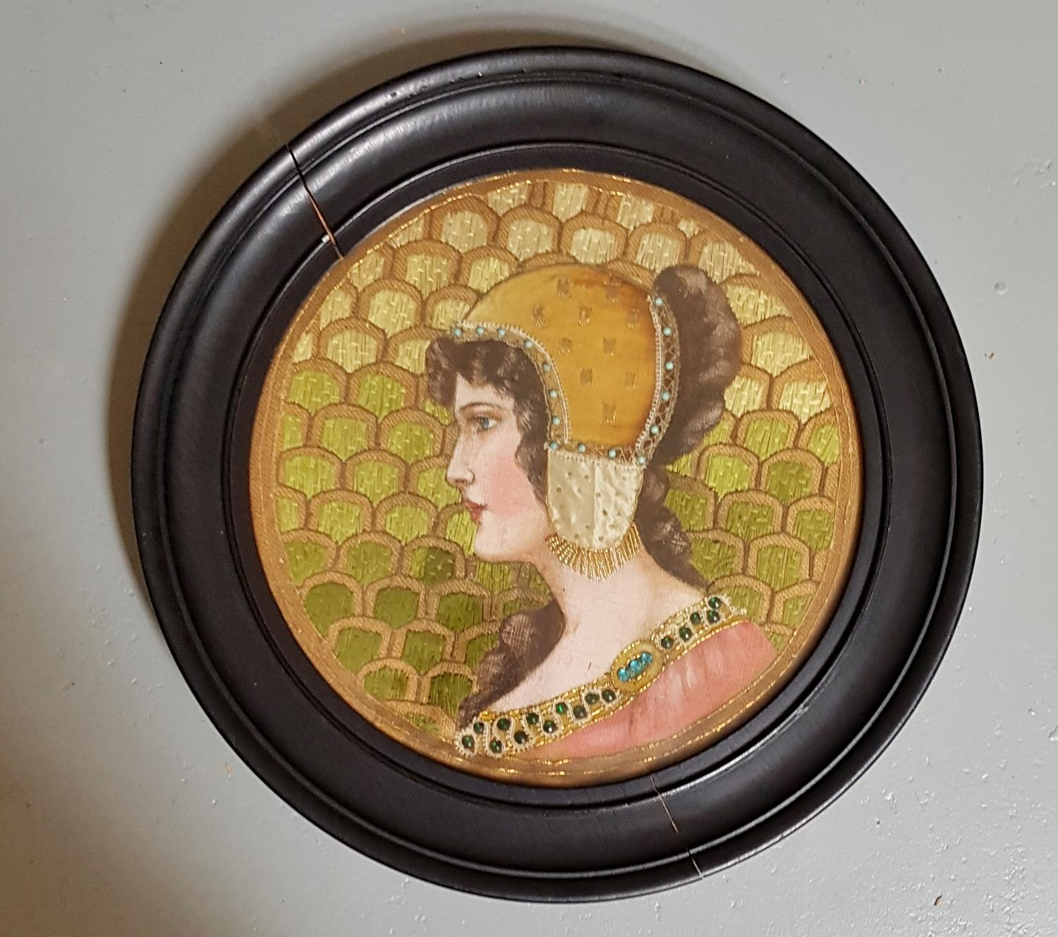 Arts & Crafts mixed media portrait needlework