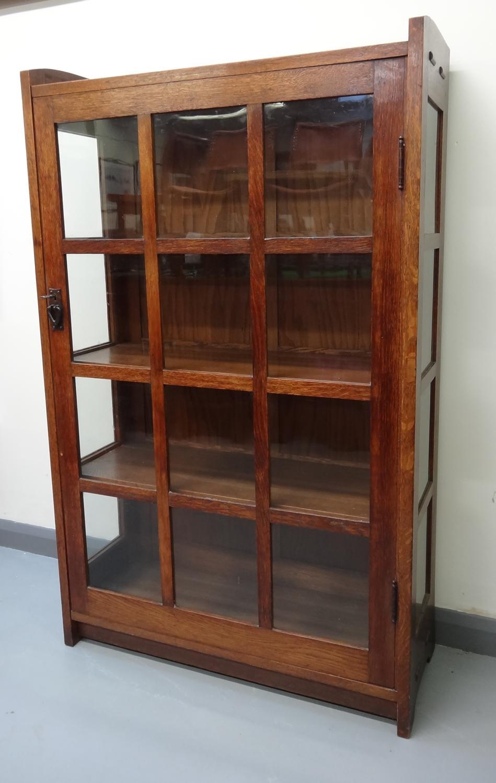 Gustave Stickley glazed oak cabinet bookcase
