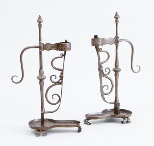 Rare Cotswold School William Letheren iron candlesticks