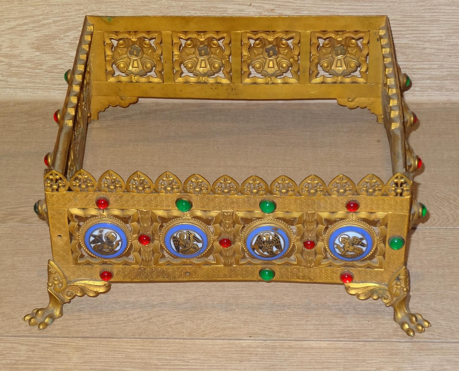 Gothic Revival bejewelled enamelled brass missal stand
