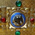 Gothic Revival bejewelled enamelled brass missal stand - picture 13