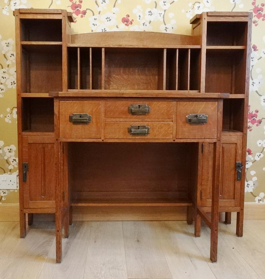 Dutch Arts & Crafts oak desk Simpson style