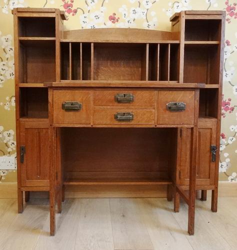 Dutch Arts & Crafts oak desk Simpson style