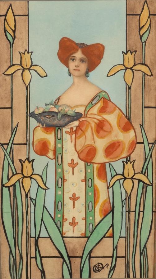 Art Nouveau maiden watercolour
