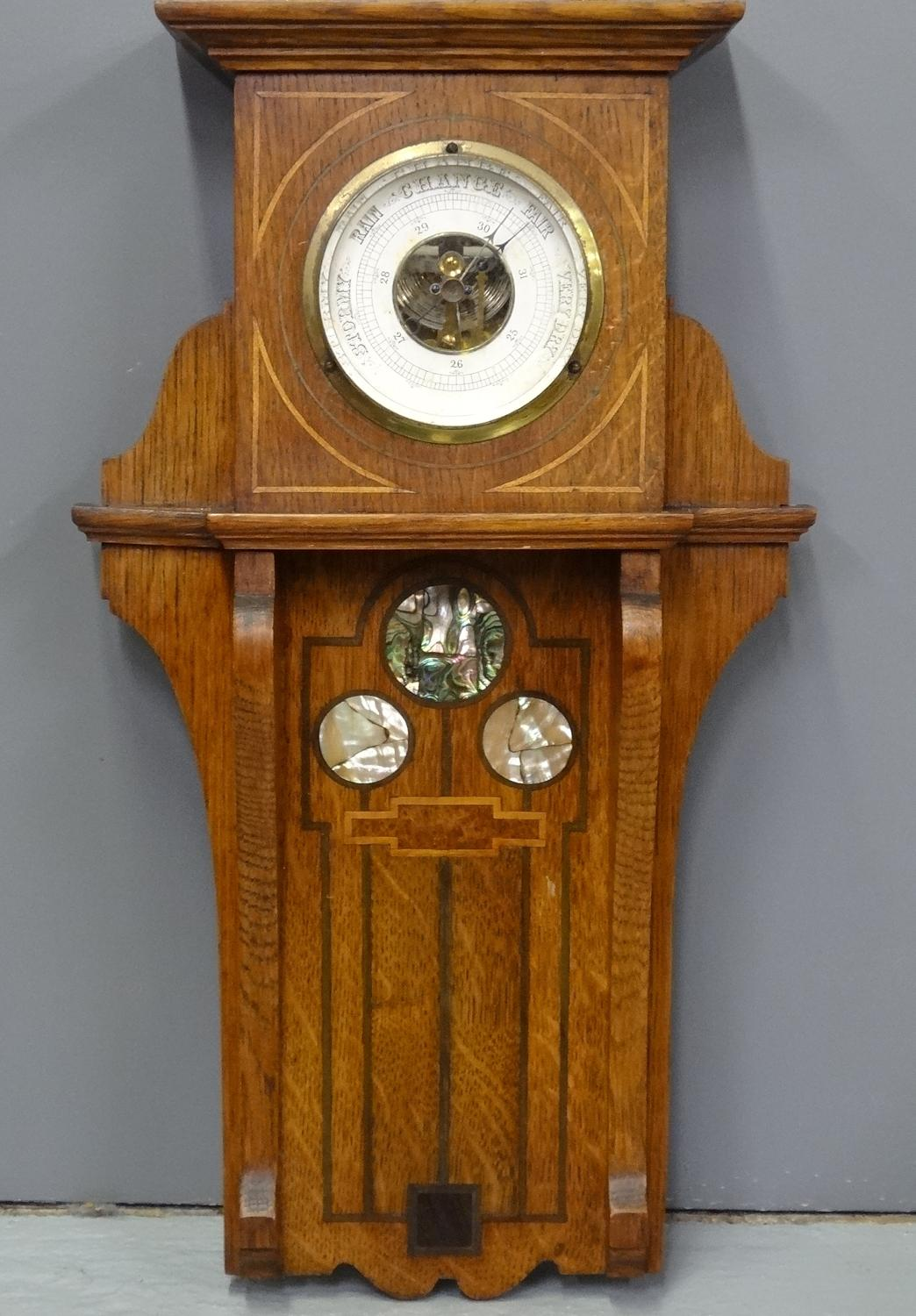 Shapland & Petter oak inlaid barometer