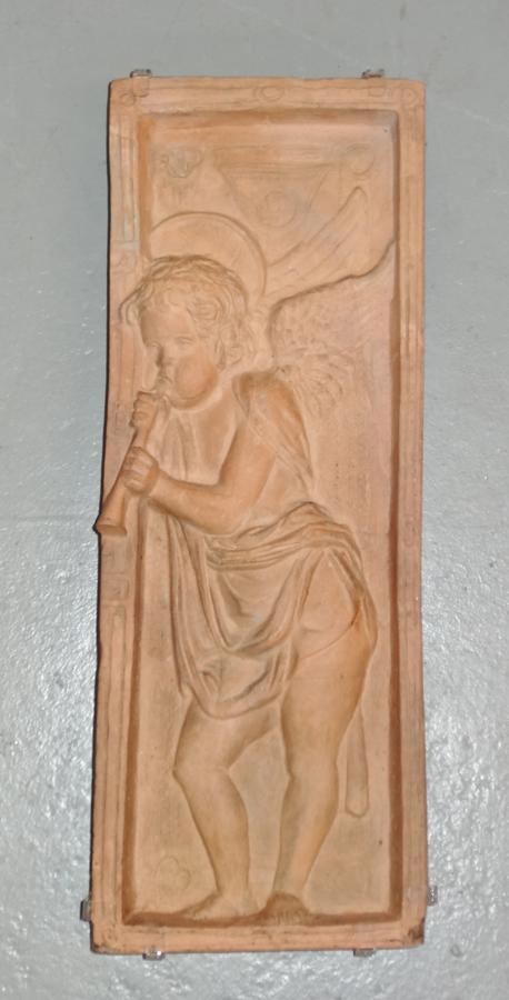 Arts & Crafts Donatello terracotta angel plaque