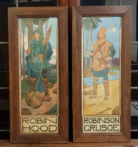 Arts & Crafts Robin Hood pair of watercolours