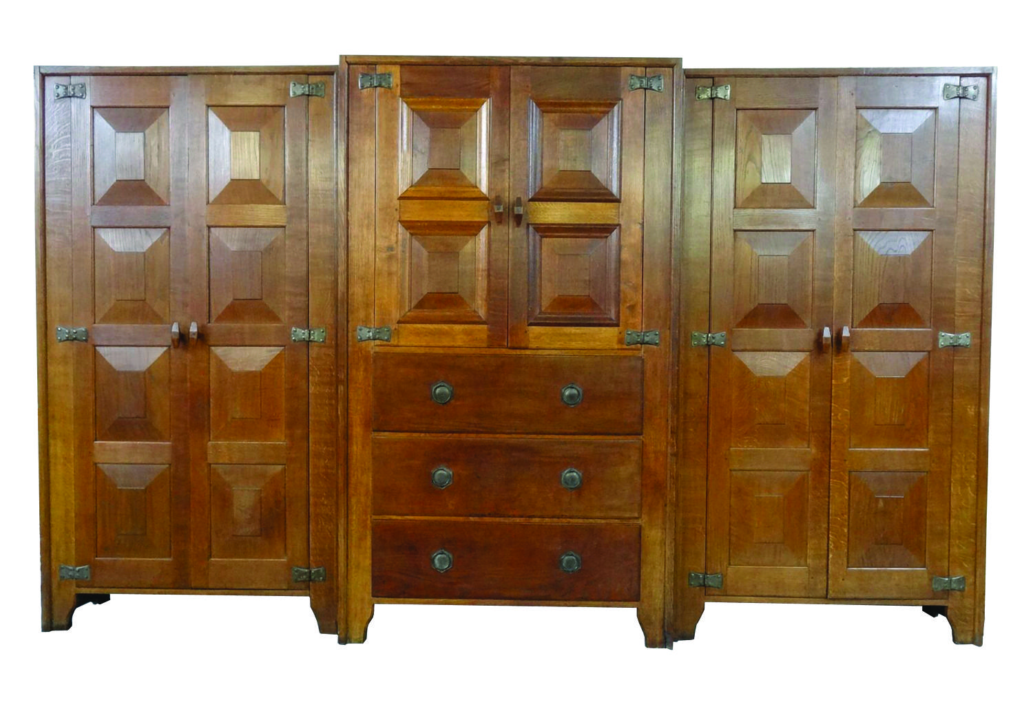 Rare Ernest Gimson set of 3 separate Cotswold School oak cabinets