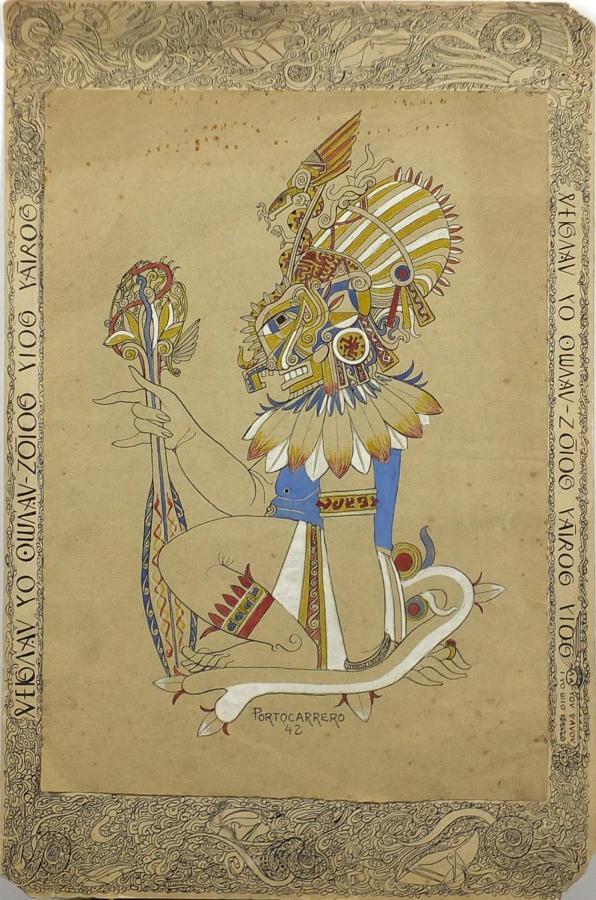 Unusual mythological pen and ink drawing Portocarrero