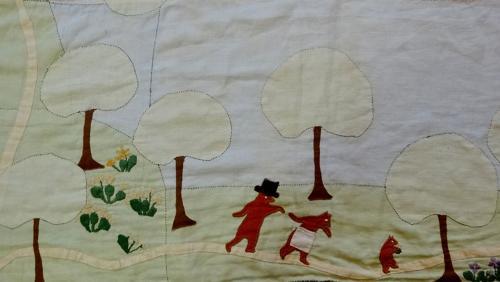 Folk Art Arts & Crafts quaint linen bedspread