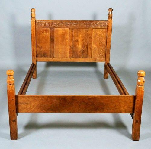 Rare early Mouseman double bed