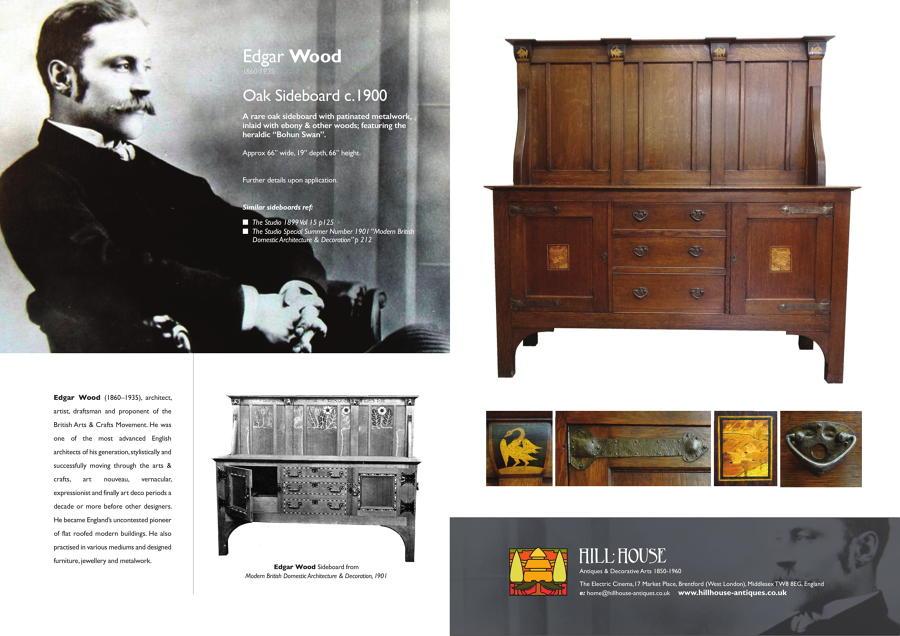 Rare Edgar Wood Arts and Crafts inlaid oak sideboard