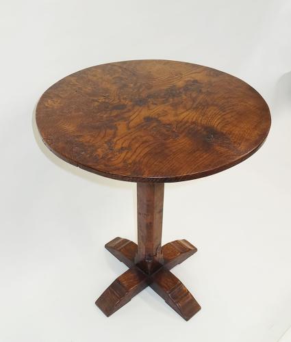 Mouseman style burr elm & oak occasional table