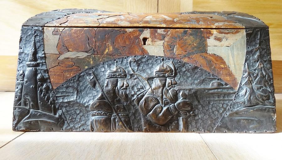 Russian Arts & Crafts polychrome & copper casket Bilibin