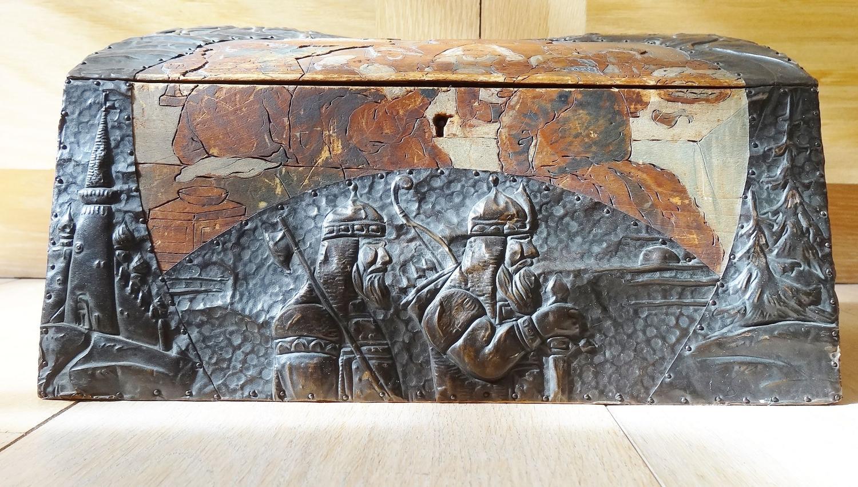 Russian Arts & Crafts polychrome & copper casket Bilibin