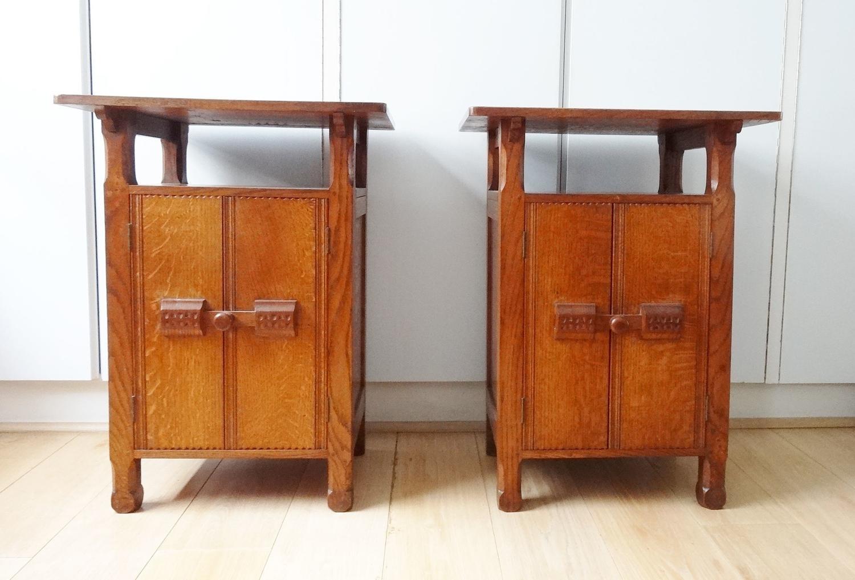 Arthur Romney Green Cotswold School pair bedside cabinets