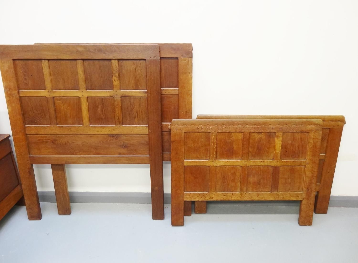 Early Robert Mouseman Thompson PAIR of motto single beds