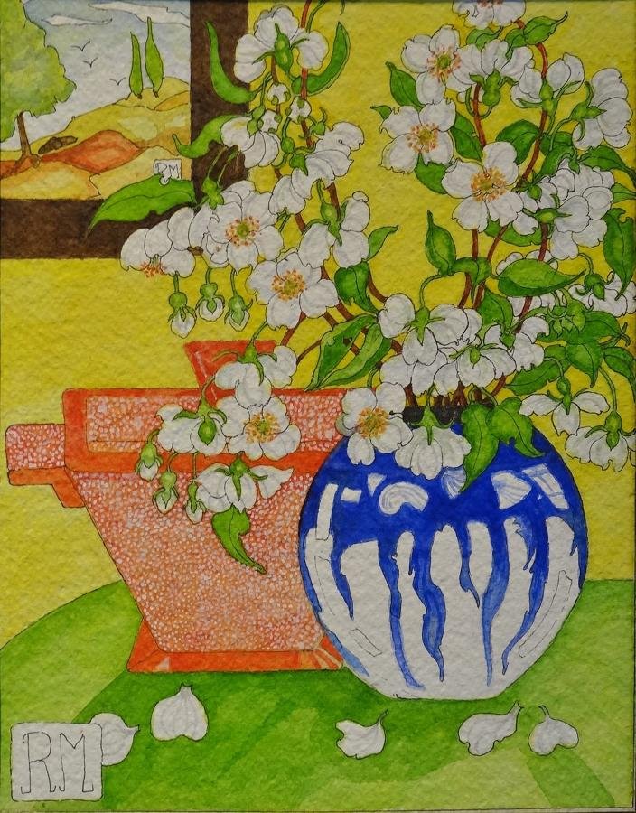 Rosemary Marshall watercolour - Philadelphus in 70's vase