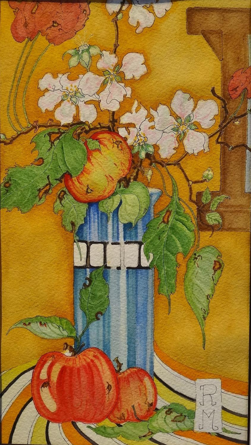 Rosemary Marshall watercolour - Apples & Appleblossom