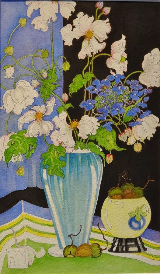 Rosemary Marshall watercolour - Japanese Anemones