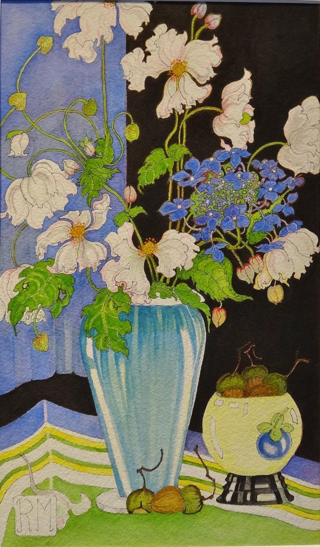 Rosemary Marshall watercolour - Japanese Anemones