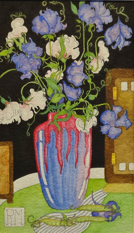 Rosemary Marshall watercolour - Sweet peas