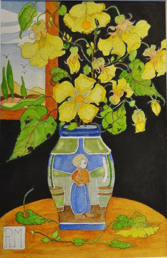 Rosemary Marshall watercolour - Abutilon in Lambeth vase