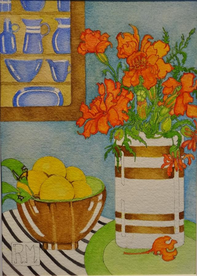 Rosemary Marshall watercolour - Marigolds & bergamot oranges