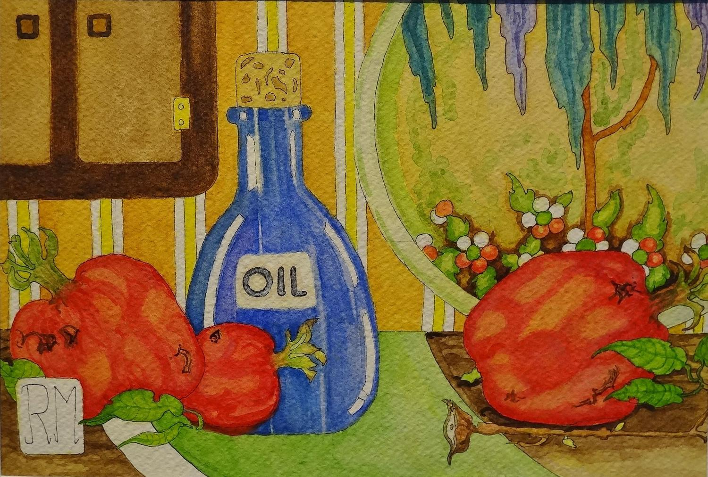 Rosemary Marshall watercolour - Pomegranates & Devon charger