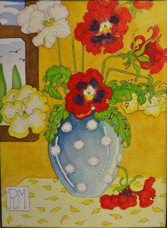 Rosemary Marshall watercolour - Violas polka dot vase