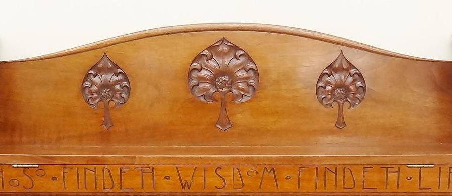 Arthur Simpson of Kendal Arts & Crafts motto wall cabinet bookshelf