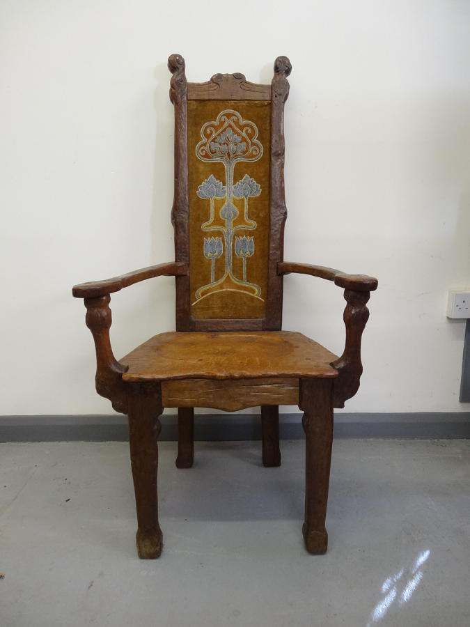 Unusual Arts & Crafts Art Nouveau Gaudiesque armchair