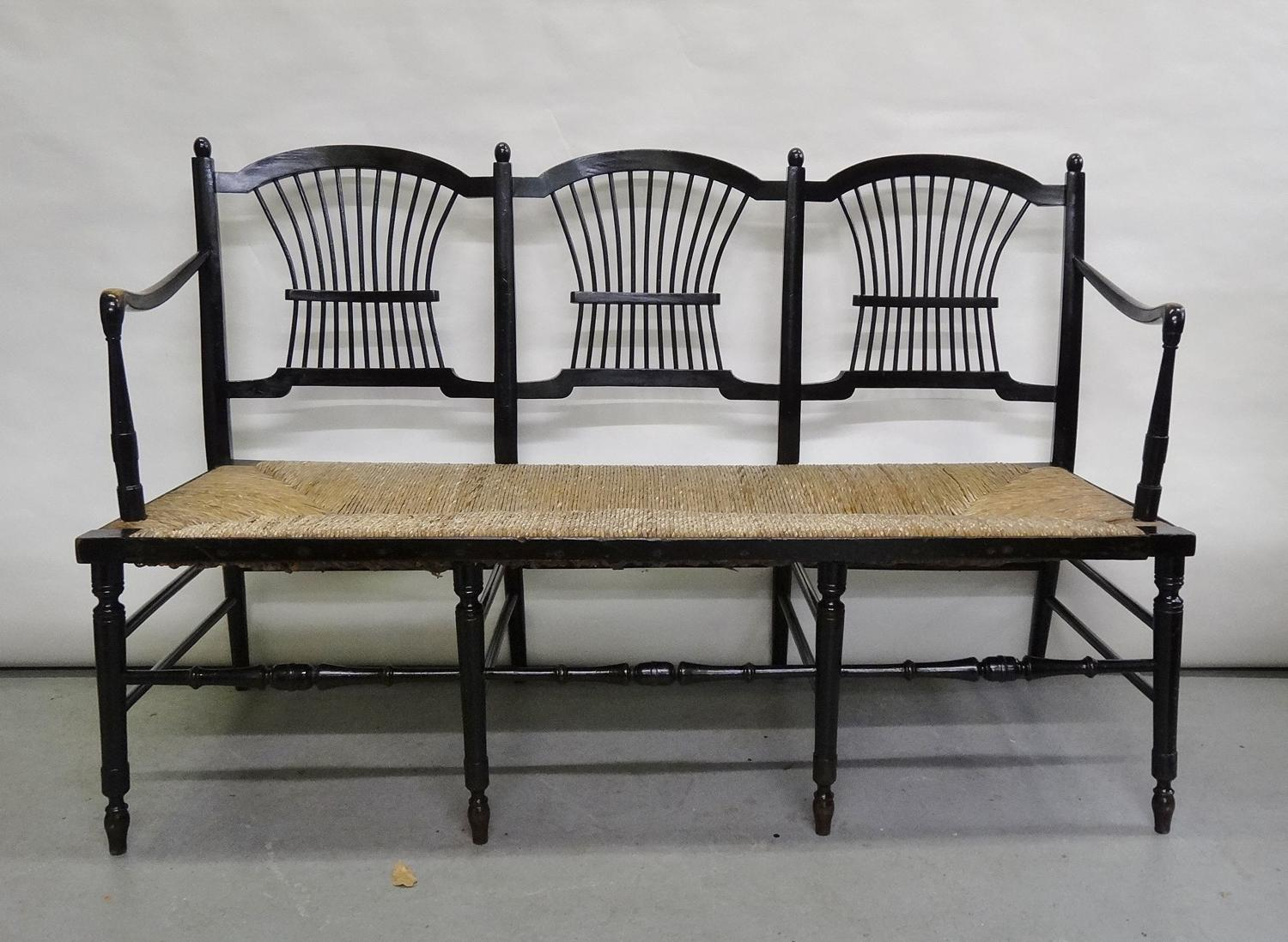 Morris & Co ebonised Rossetti settle
