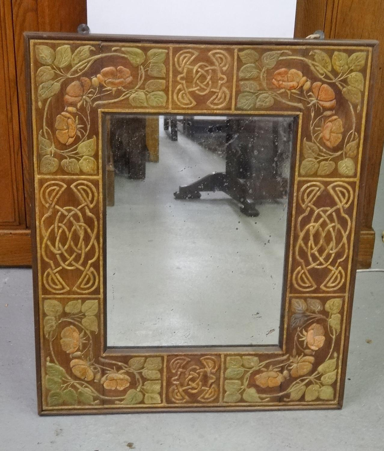 Henry Wyse of Arbroath style Arts & Crafts gesso mirror