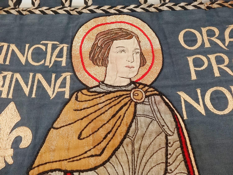 Joan of Arc Arts & Crafts textile school banner