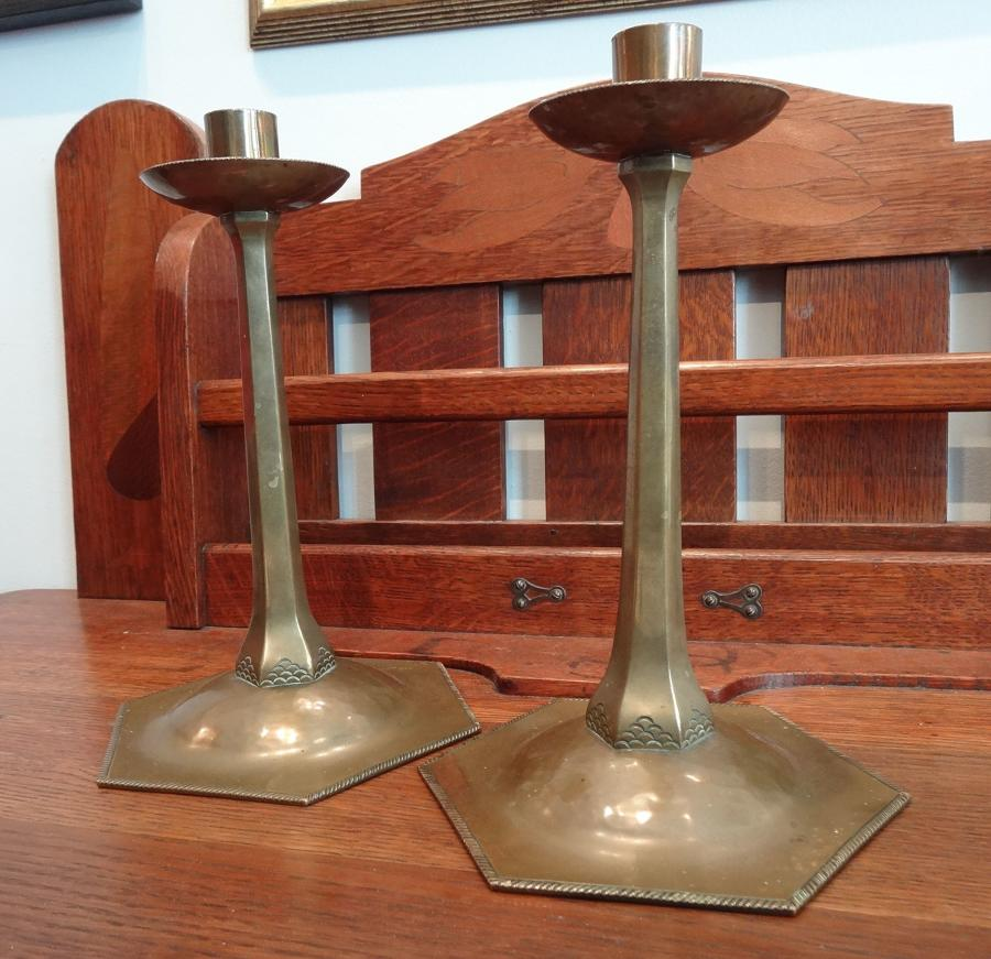 Rare pair of Ernest Gimson Cotswold School brass candlesticks