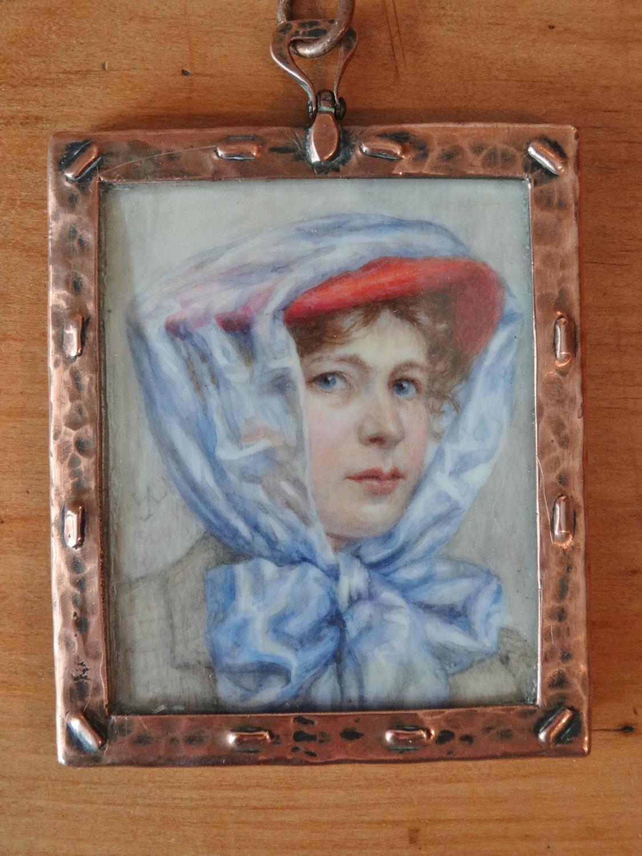 Edwardian Arts & Crafts copper framed miniature portrait necklace