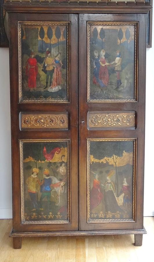 Arts & Crafts Florentine style painted cupboard Montague Fordham
