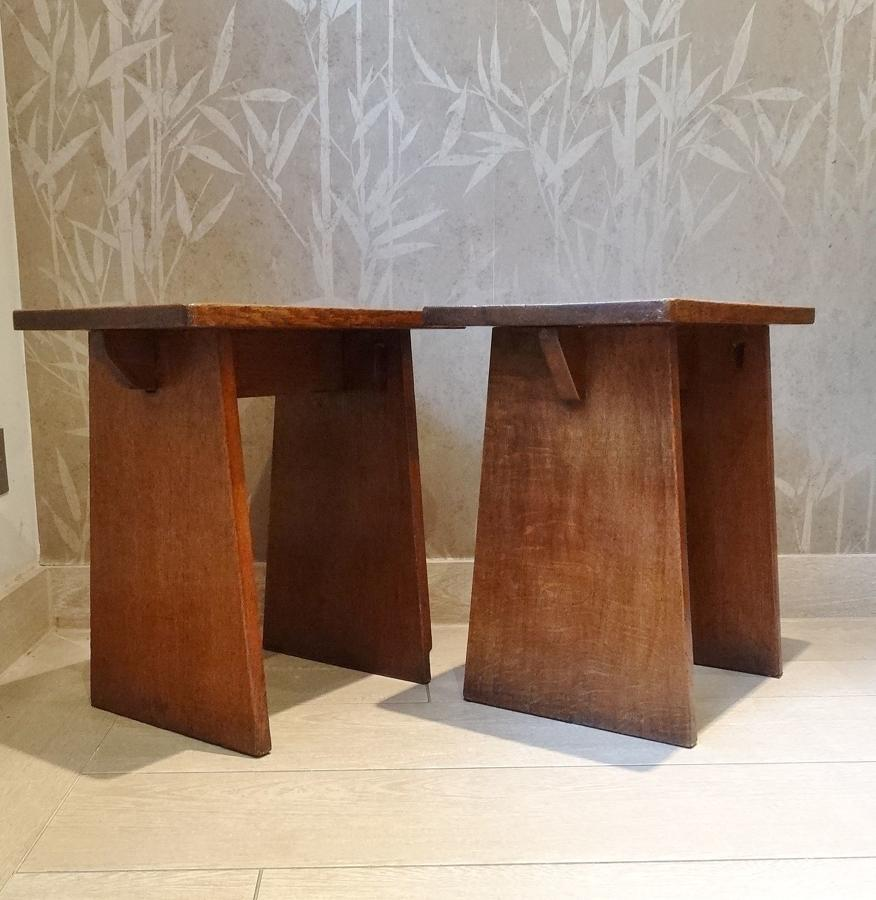 Pair of oak tapering Arts & Crafts stools/low tables