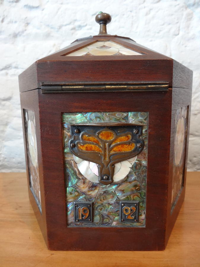 Rare Pickford Marriott mother of pearl enamelled tea caddy