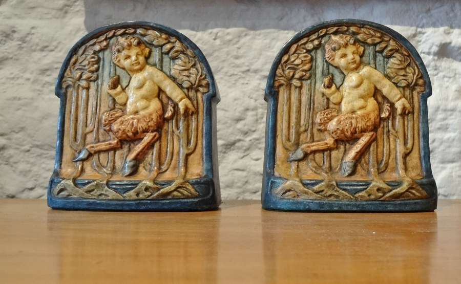 Compton Pottery Pan bookends plaques