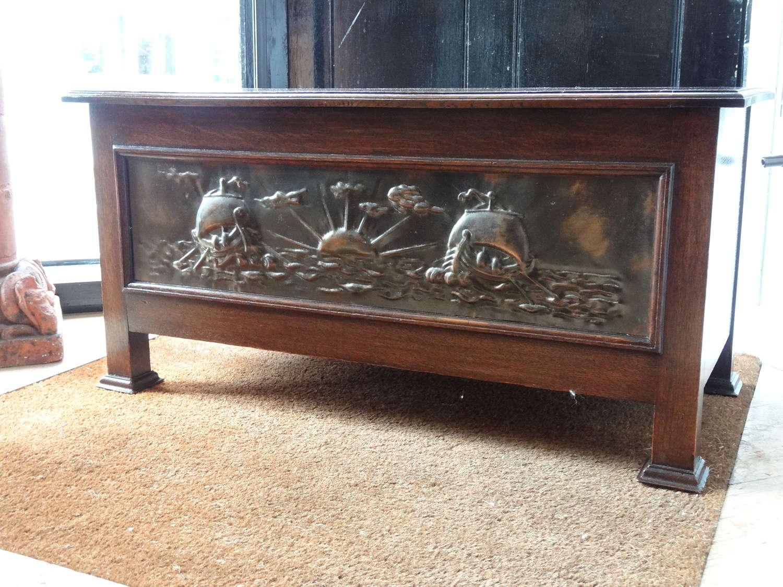 Arts & Crafts Art Nouveau galleon panel oak coffer chest
