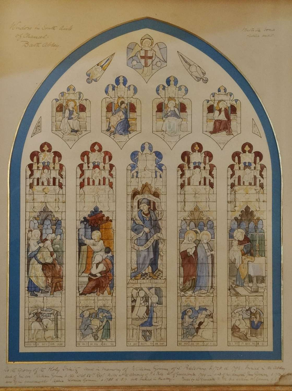 Rare Bath Abbey Gilbert Scott stained glass design Gomm Family