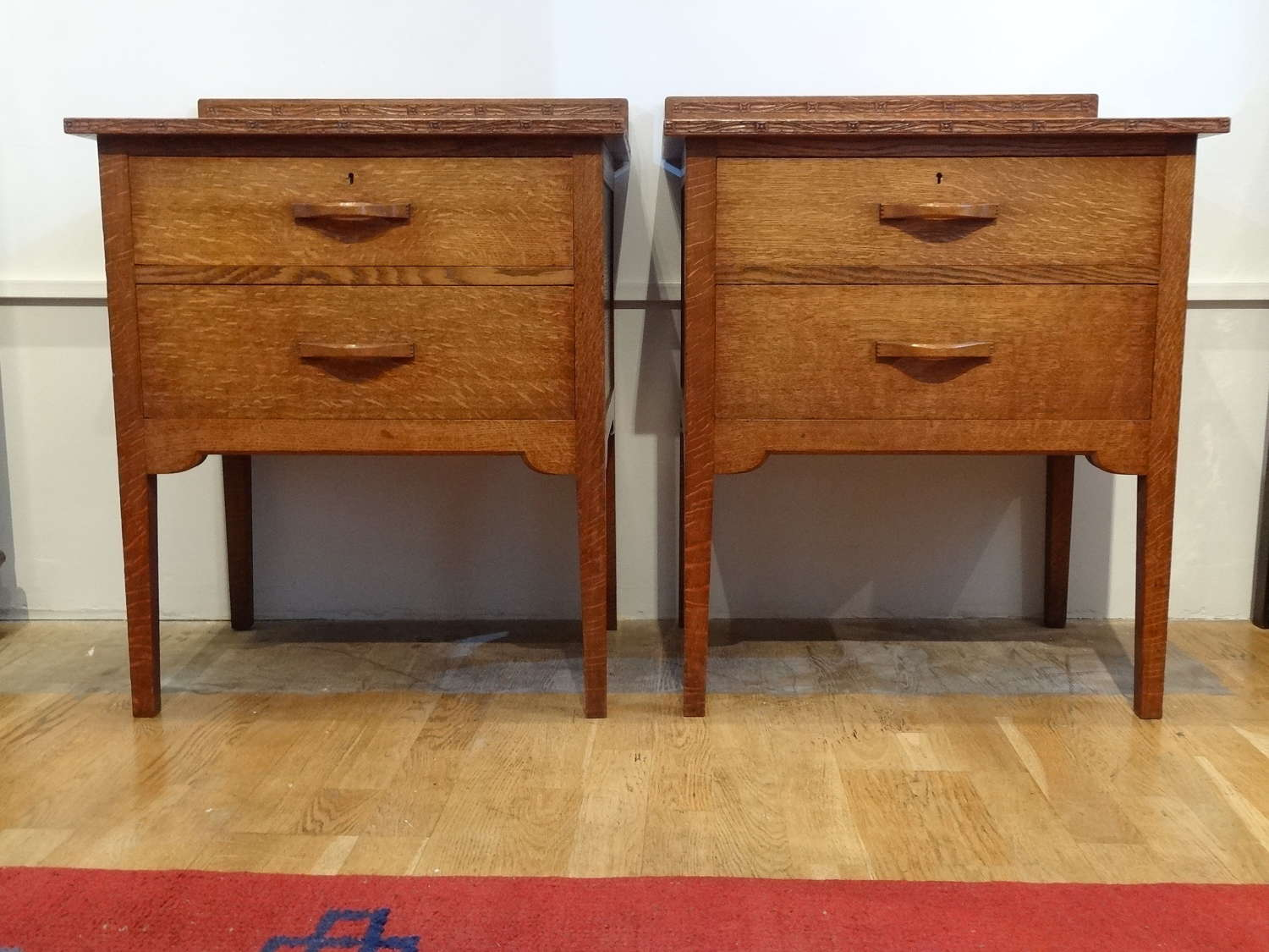 Rare pair of Arthur Simpson of Kendal bedside cabinets
