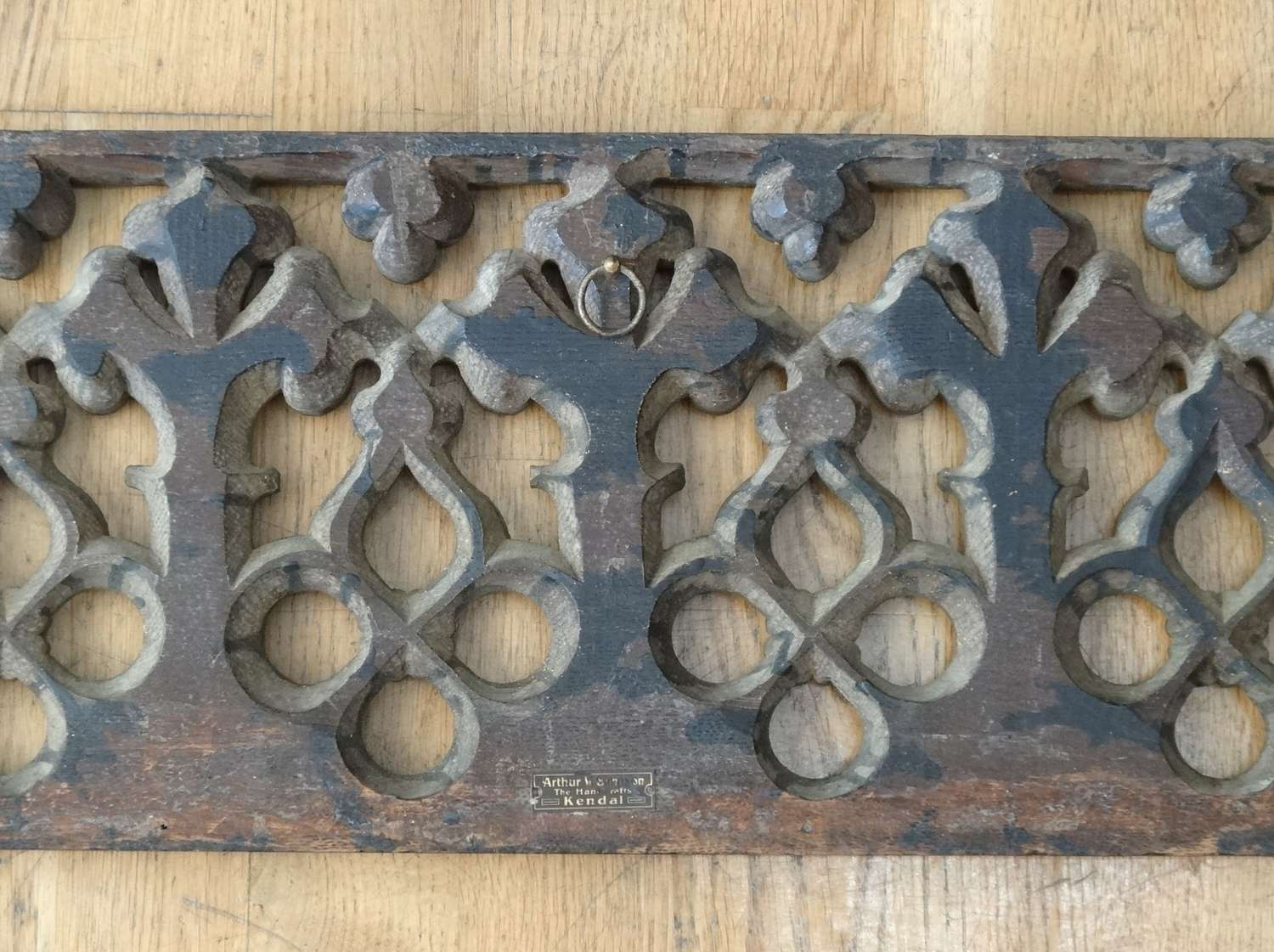 Arthur Simpson of Kendal Arts & Crafts Gothic carved panel
